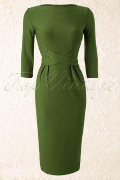 Tatyana - 60s Vickie Criss Cross Dress in Vintage Green