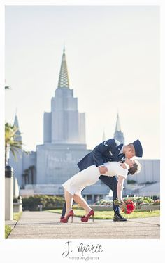 A Victoria Beckham inspired custom wedding dress + airforce uniform = the most stunning wedding pictures ever. This is by far my favorite picture from Krissa & Chris Correa's wedding. Check out my blog to see the rest!