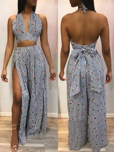 c7137813fee Striped Backless Cropped Top Split Pant Sets
