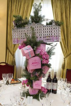 The eelaborate centrepiece celebrating The Grand Budapest Hotel takes pride of place on one of the tables at the afterparty at Grosvenor House, London, where the stars will celebrate on Sunday night