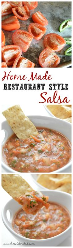 Easy Home Made fresh salsa with sweet roasted tomatoes on chocolatesalad.com.  A crowd pleaser for sure!