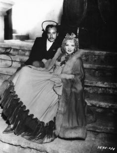 Director Josef von Sternberg and Marlene Dietrich on the set of The Scarlet Empress.