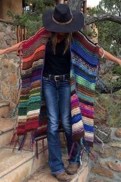 "LONG Handknit Womens Bohemian Festival Hippie Beach Poncho Cape Shawl (""For Kay"")"