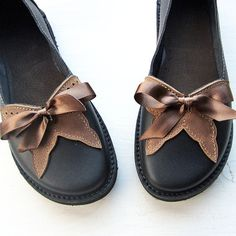 Handmade Leather Womens Shoes, FLUTTERBY in Jet Black and Hazelnut, by Fairysteps Shoes. £134.00, via Etsy.
