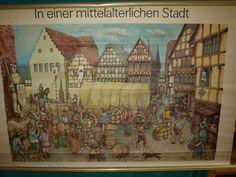 Rollkarte Lehrkarte Wandkarte In einer mittelalterlichen Stadt / Mittelalter