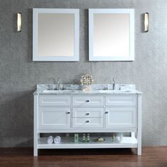 SeaCliff by Ariel SC-MAY-60-SWH Mayfield 60 in. Double Bathroom Vanity Set - SC-MAY-60-SWH
