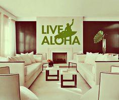 HUGE Live Aloha  surf art  vinyl wall art decals by 3rdAveShore, $96.00