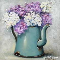 Stella Bruwer aqua enamel coffee pot  with light purple and white flowers