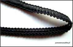 Czarna taśma ozdobna wykończona sznurkiem satynowym, Pasmanteria Ozdobna