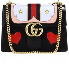 Gucci Marmont Leather Chain Strap Satchel ($3,800) ❤ liked on Polyvore featuring bags, handbags, apparel & accessories, genuine leather handbags, gucci purses, pocket purse, leather purse and genuine leather purse