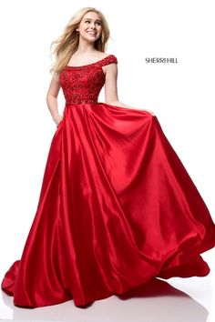 afbd5af5ed0 Sherri Hill 51610 Red Off the Shoulder Flowy Ballgown Valentines Day Dress  Ypsilon Dresses Prom Pageant