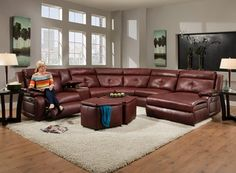 Regal Contemporary Styled Reclining Sectional Sofa with Chaise and Console by Belfort Motion at Belfort Furniture Reclining Sectional With Chaise, Leather Sofa And Loveseat, Best Leather Sofa, Modern Leather Sofa, Leather Furniture, Belfort Furniture, Sectional Furniture, Living Room Sectional, Modern Sectional