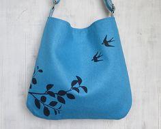 SALE 10% OFF  Hemp Tote Bag /  Messenger Bag with Flying by Uzura