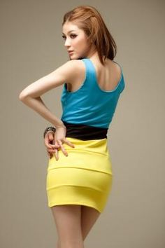 Sexy Colorblock V-Neck Dress - Perfect for summer - - Free Shipping!