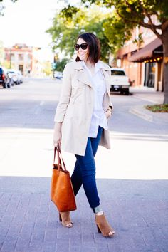 trench coat, white shirt, jeans, peeptoe booties