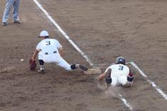 北本高校 vs 本庄東高校 (2014/4/14): 執念のヘッド・スライディングでゲッツーを阻止。勝利への望みをつないだが、、、 Sports, Fictional Characters, Hs Sports, Fantasy Characters, Sport