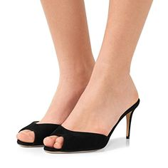 67eded608bb4 FSJ Women Faux Suede High Heel Mules Peep Toe Slip On Casual Sandals Slide Shoes  Size 4-15 US