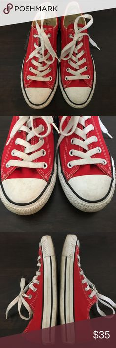 Converse- Converse(red) Red Classic Sneaker M6/WM8 Converse- Converse(red) Red Classic Sneaker. Special edition for the Product(red) collection. Worn a couple times, still lots of life and great condition. There's a light spot and a small scuff on the inner right shoe (pic #5). Size is a Men's 6 or a Women's 8. Converse Shoes Sneakers