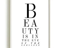 EYE of the BEHOLDER art print black and white typography fashion hair salon art gallery wall art