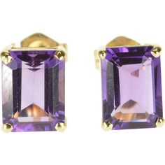 14K Amethyst Emerald Cut Prong Set Post Back Earrings Yellow Gold  [QPQX] -- found at www.rubylane.com #vintagebeginshere #giftsforher
