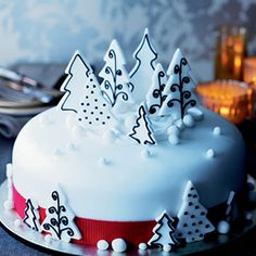 Christmas Cake decorated with trees