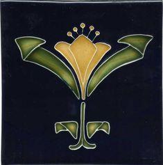 """Tile V58 - Reproduction Art Nouveau Tile  - porteous nz - Tiles are aprox. 150mm x 150mm (6"""" x 6"""") or 150mm x 75mm (6"""" x 3"""")."""