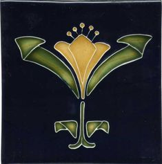 "Tile V58 - Reproduction Art Nouveau Tile  - porteous nz - Tiles are aprox. 150mm x 150mm (6"" x 6"") or 150mm x 75mm (6"" x 3"")."