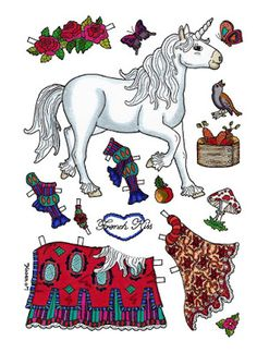 Karen`s Paper Dolls: Horses 1-8 Paper Dolls in Colours. Heste 1-8 påklædningsdukker i farver.
