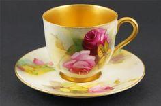 ROYAL WORCESTER Demitasse Cup & Saucer ROSES 1926 Signed MILLIE HUNT Miniature | eBay