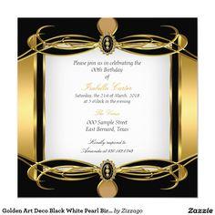 Golden Art Deco Black White Pearl Birthday Party 5.25x5.25 Square Paper Invitation Card