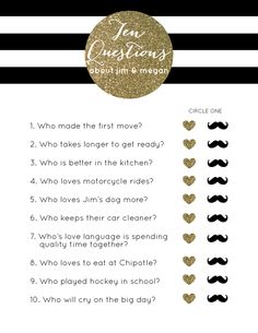 Black & White Striped Gold Glitter Bridal Shower Game // Ten Questions // how well do you know the couple? // click here for pricing:  http://betsygettis.blogspot.com/p/design.html