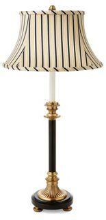 Footed Buffet Lamp, Antique Brass