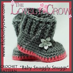 "Crochet-Baby Boots Booties Slippers ""Baby Snuggly Snuggs"" $5.95"