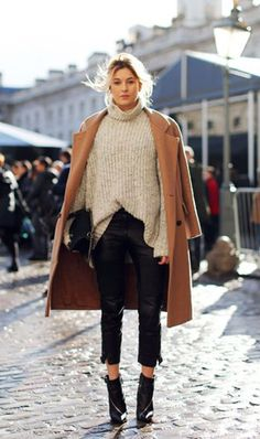 Ready for a new trick? Half-tuck your sweater into leather pants.