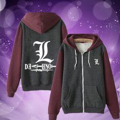 Anime Death Note Logo L Lawliet Fashion Clothing Casual Sweatshirt Hoodie Coat | eBay