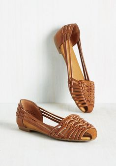 Hey Sol Sister Flat - Flat, Faux Leather, Brown, Solid, Woven, Casual, Boho, Safari, Good, Brown, Neutral