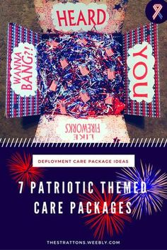 7 Patriotic Themed Care Packages. Milsos, military girlfriends, military wives, army fiancés, army spouses, army girlfriends whatever you call them, they are so creative! See 7 amazingly creative Fourth of July, patriotic themed care packages. Get some great ideas for next 4th of July because deployments do love to sneak around the corner! Care packages are such a fun way to show your loved one you care while they are away on a deployment. Or even if you are sending to a missionary!