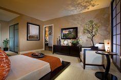 Asiatisches Schlafzimmer asiatisches schlafzimmer einrichtung schwarz orange baum topf