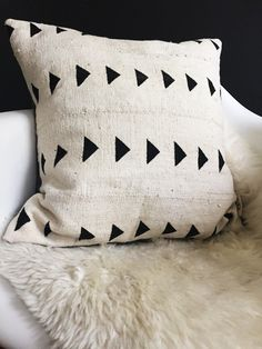 MEROE White Mud Cloth/ African Mudcloth Pillow Covers