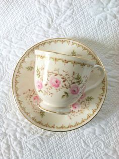 Vintage Royal Grafton Tea Cup and Saucer with floral decoration and gold trim