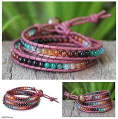 Onyx and carnelian beaded wrap bracelet by Thailand's Siriporn Funky Jewelry, Jewelry Crafts, Jewelry Art, Beaded Jewelry, Jewelry Ideas, Beaded Wrap Bracelets, Jewelry Bracelets, Bangles, Beaded Necklaces