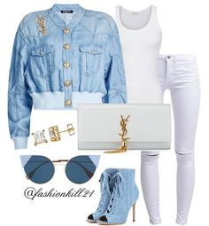 """1,900 Likes, 21 Comments - FK21 (@fashionkill21) on Instagram: """"Baby Blues DETAILS: Jacket #Balmain Brooch/Clutch #Ysl Tank #Americaneagle Jeans #Cheapmonday…"""""""