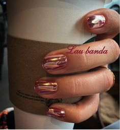 Golden rose nail art