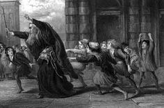 Act II scene viii Solanio: Why, all the boys in Venice follow him/Crying 'His stones, his daughter, and his ducats!'