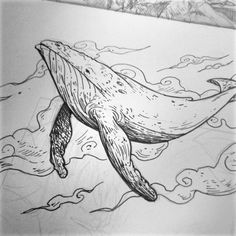 Flying Whale (as the Gojira song indeed). #doodle #sketch #tattoo #ink #whale #sea