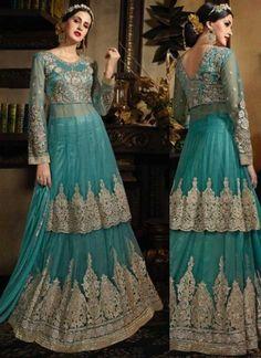 Sky Blue Embroidery Work Net Satin Designer Wedding Pakistani Palazzo Suit