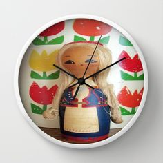 Girl By The Tulips Wall Clock by Vintage  Cuteness - $30.00 #vintage #dutch #tulips #folk #finland #costume #blonde #clock #home #holland #netherlands #kitsch #wooden #doll #girl