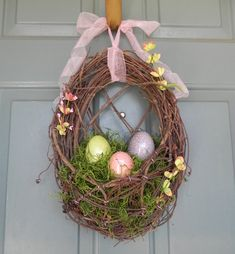 Easter Wreath Nest with Crackle Easter Eggs by RedRobynLane