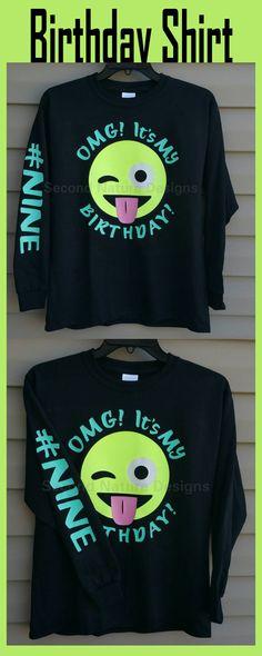 e41862f050cad Girls GLITTER Emoji Birthday Shirt   Birthday Winking Emoji Shirt  affiliate