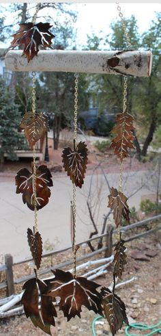 Stamped metal leaves, windchimes